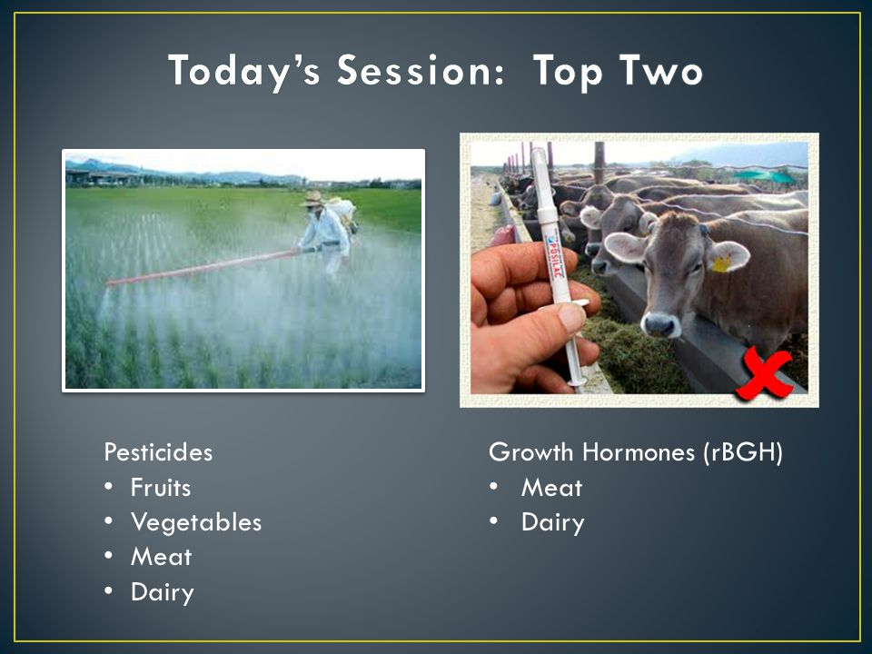 Pesticides Fruits Vegetables Meat Dairy Growth Hormones (rBGH) Meat Dairy