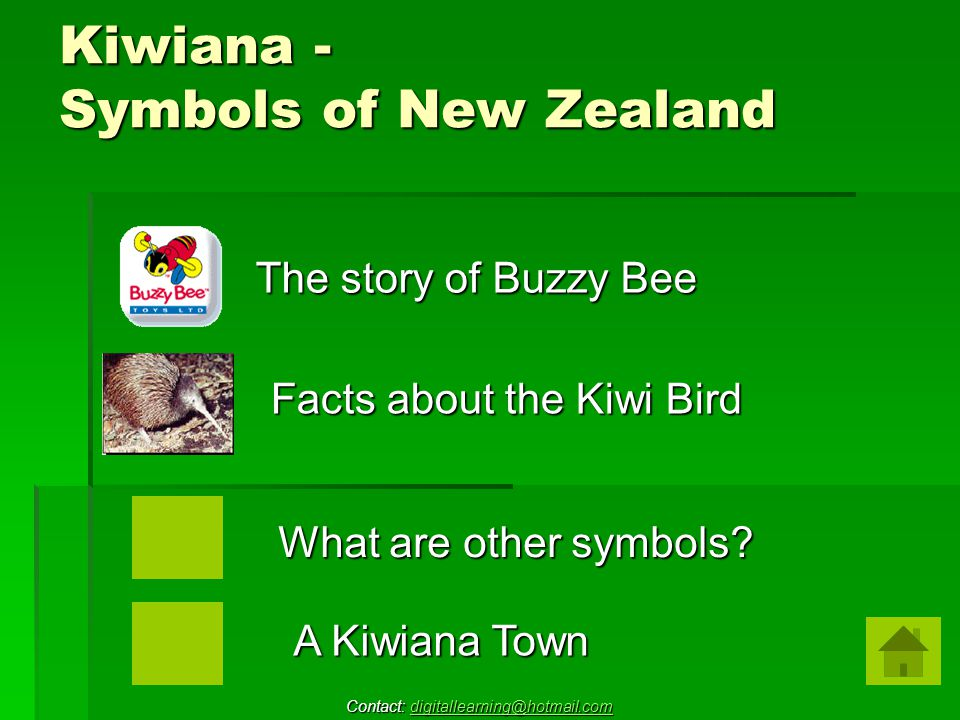 Kiwiana - Symbols of New Zealand Facts about the Kiwi Bird The story of Buzzy Bee What are other symbols.