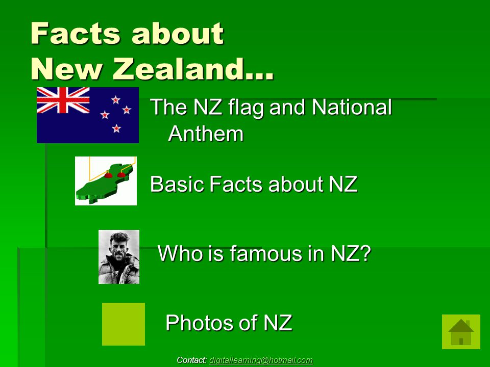 Facts about New Zealand… The NZ flag and National Anthem Basic Facts about NZ Who is famous in NZ.
