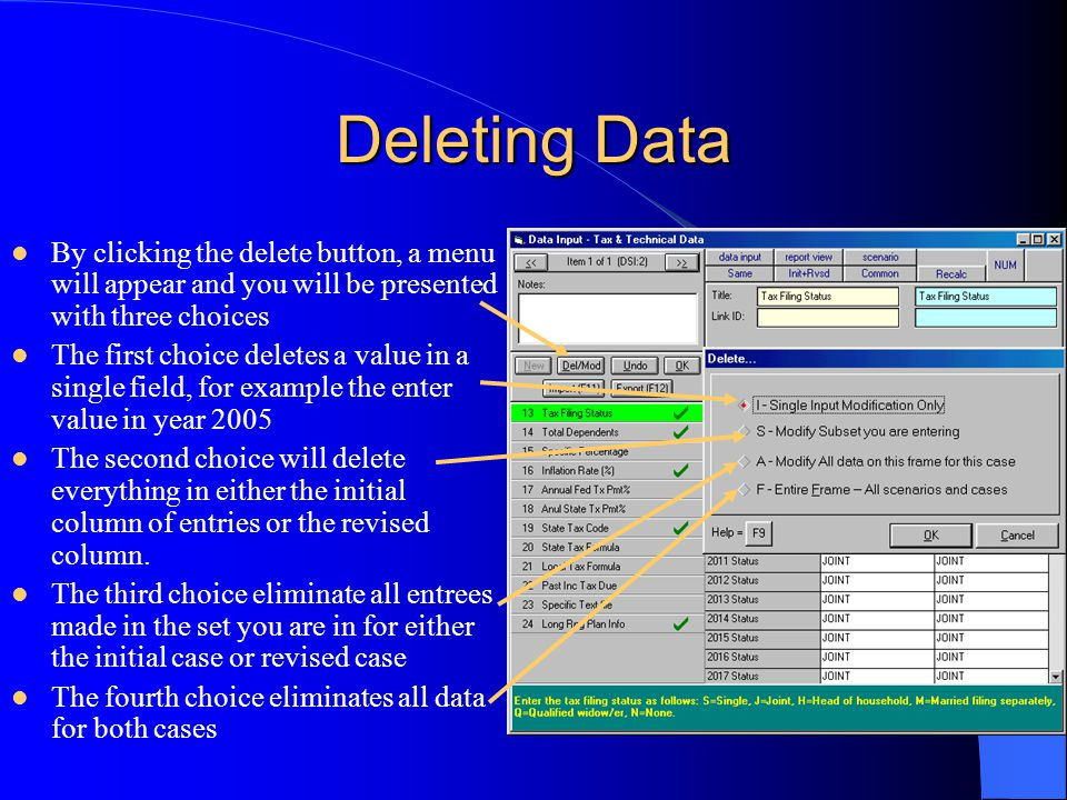 Deleting Data By clicking the delete button, a menu will appear and you will be presented with three choices The first choice deletes a value in a single field, for example the enter value in year 2005 The second choice will delete everything in either the initial column of entries or the revised column.