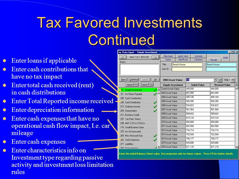 Tax Favored Investments Continued Enter loans if applicable Enter cash contributions that have no tax impact Enter total cash received (rent) in cash distributions Enter Total Reported income received Enter depreciation information Enter cash expenses that have no operational cash flow impact, I.e.