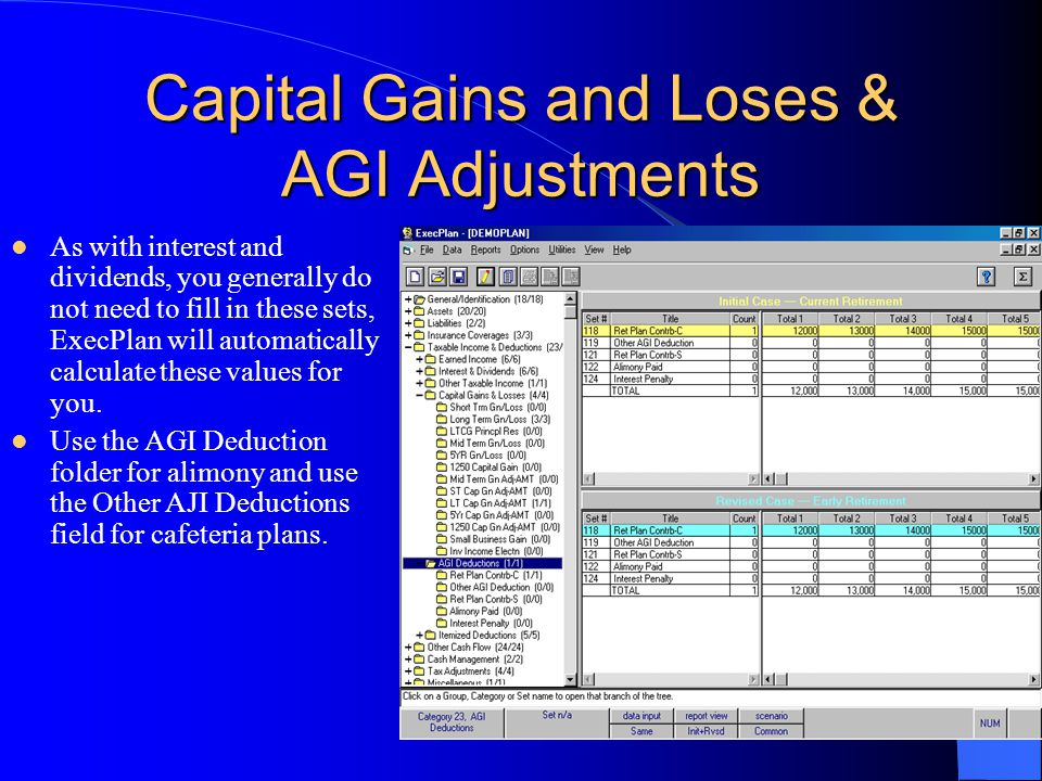 Capital Gains and Loses & AGI Adjustments As with interest and dividends, you generally do not need to fill in these sets, ExecPlan will automatically calculate these values for you.