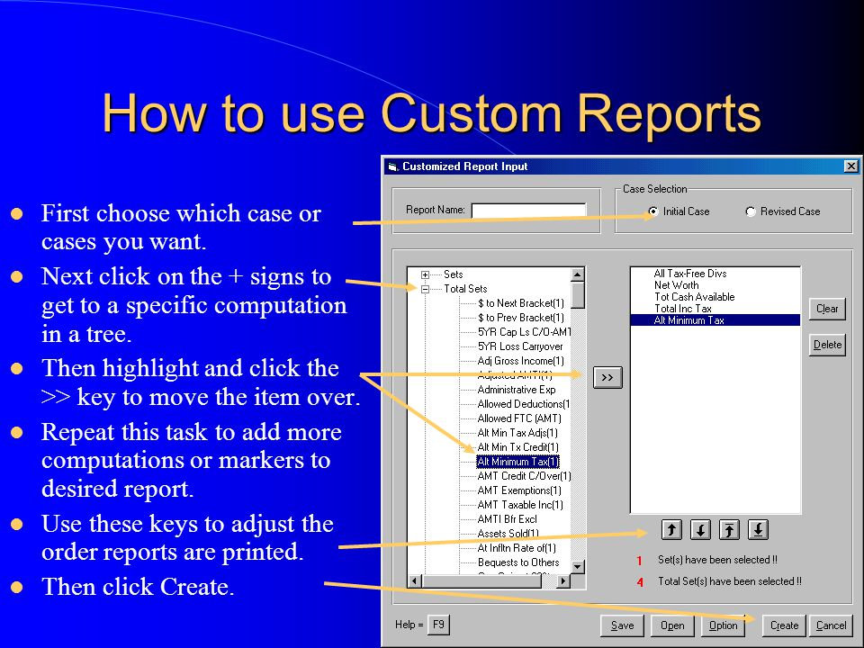 How to use Custom Reports First choose which case or cases you want.
