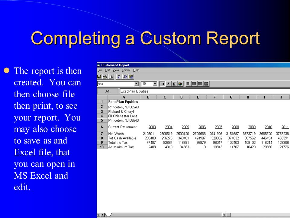 Completing a Custom Report The report is then created.