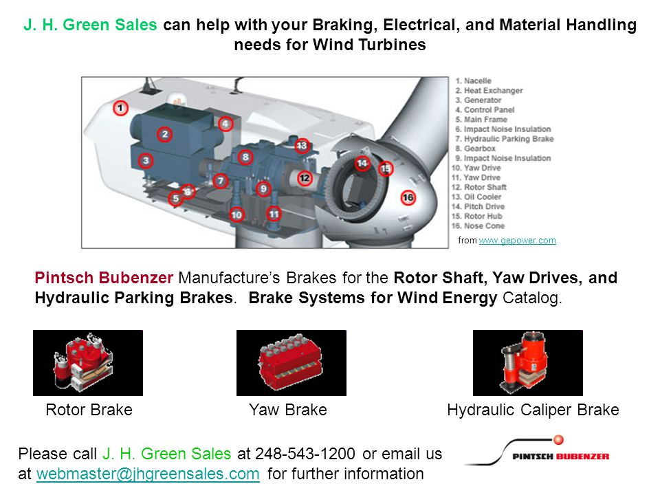from www.gepower.comwww.gepower.com Pintsch Bubenzer Manufacture's Brakes for the Rotor Shaft, Yaw Drives, and Hydraulic Parking Brakes.