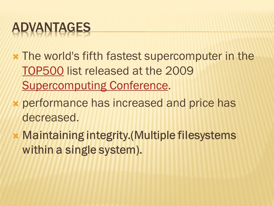  The world s fifth fastest supercomputer in the TOP500 list released at the 2009 Supercomputing Conference.