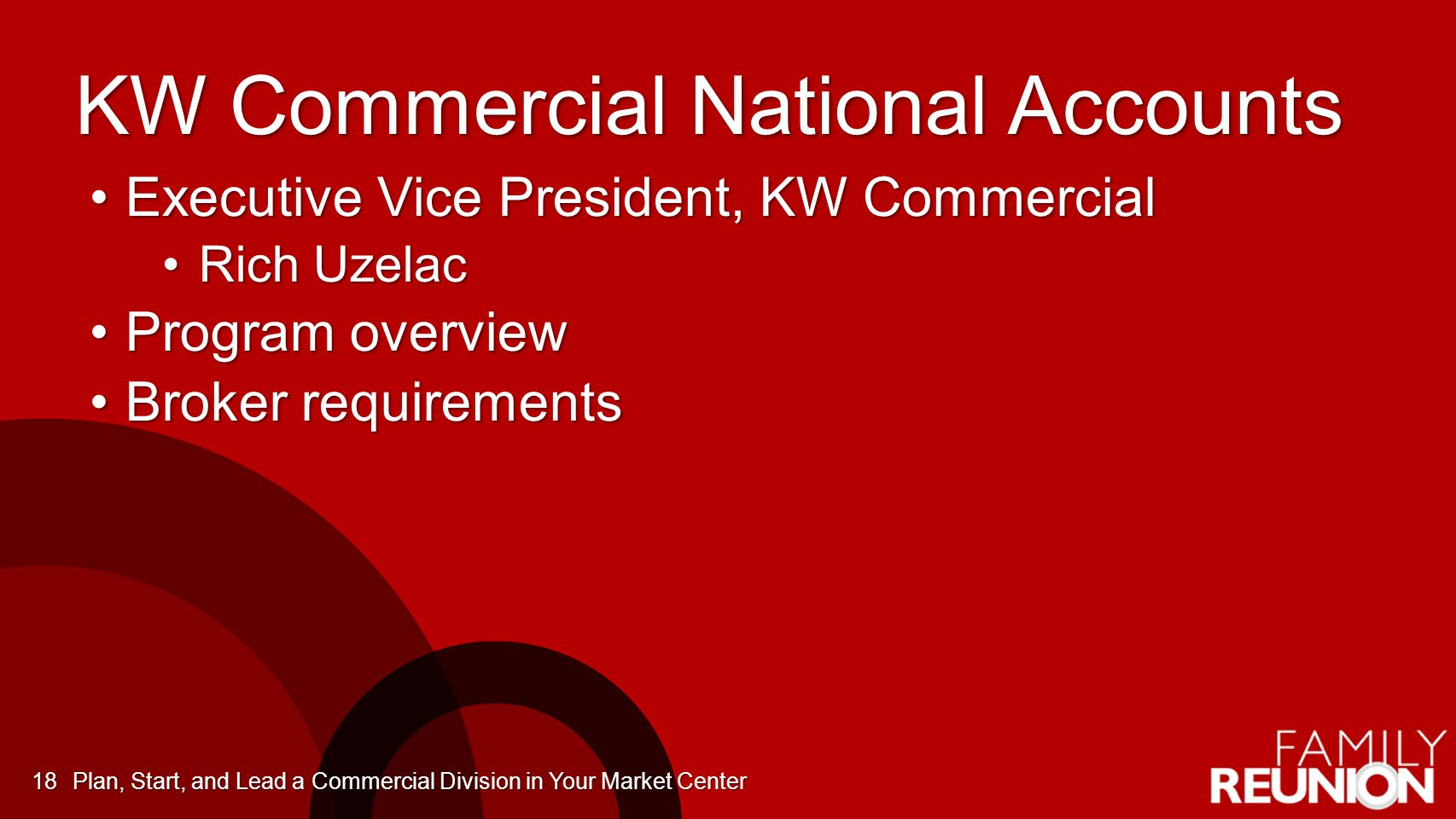 KW Commercial National Accounts Executive Vice President, KW CommercialExecutive Vice President, KW Commercial Rich UzelacRich Uzelac Program overviewProgram overview Broker requirementsBroker requirements Plan, Start, and Lead a Commercial Division in Your Market Center18