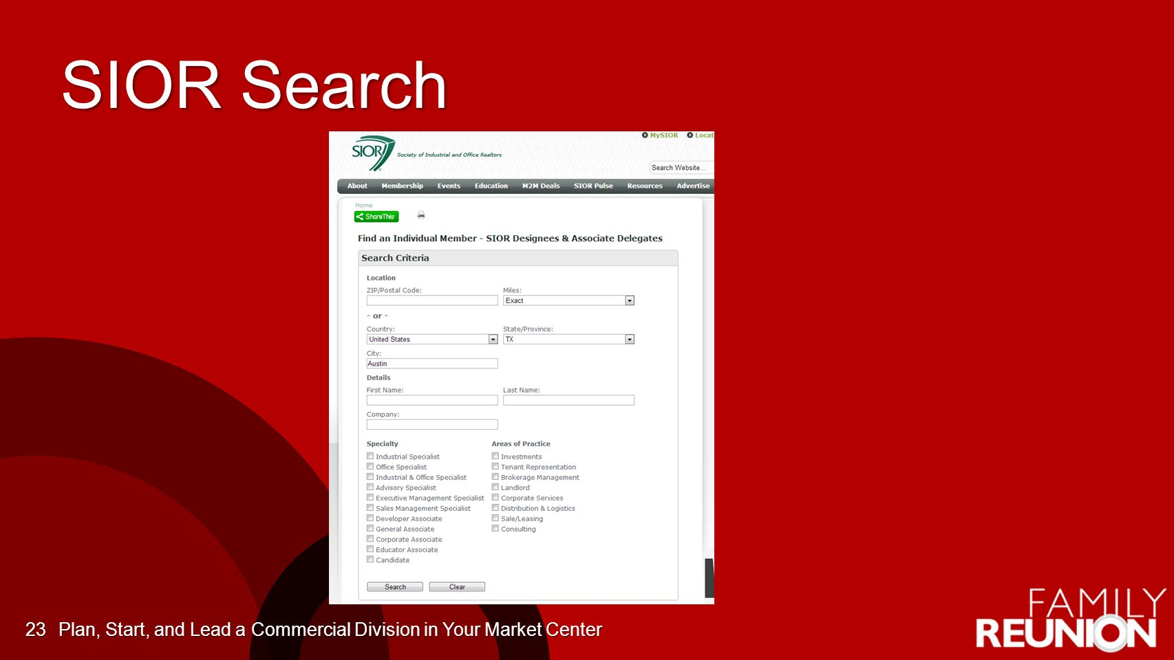 SIOR Search Plan, Start, and Lead a Commercial Division in Your Market Center23