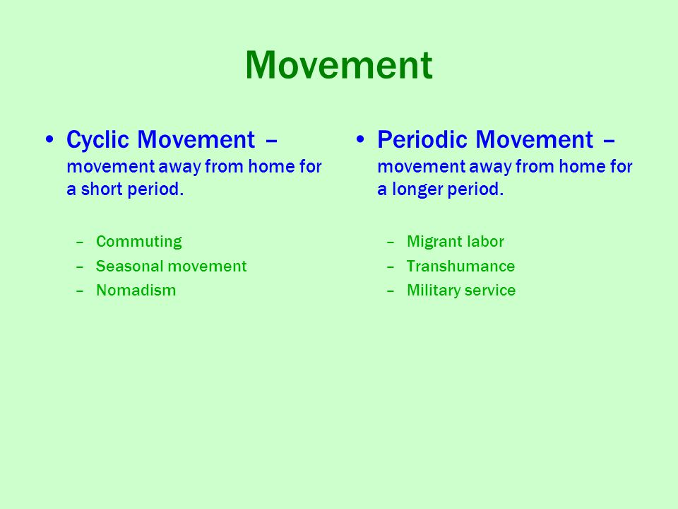 Movement Cyclic Movement – movement away from home for a short period.