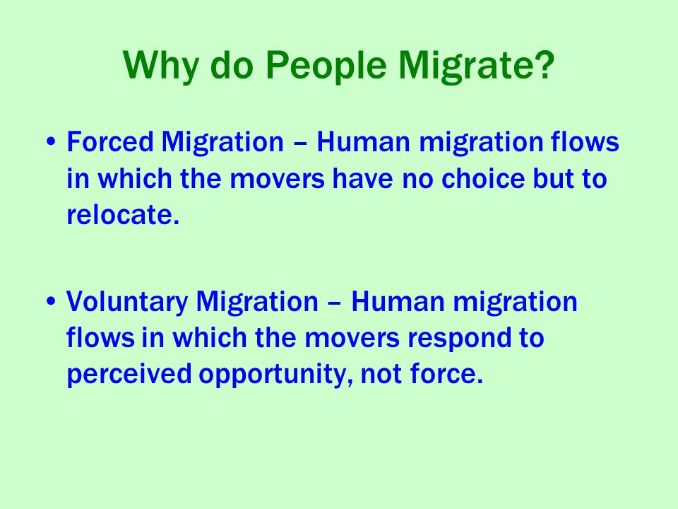 Why do People Migrate.