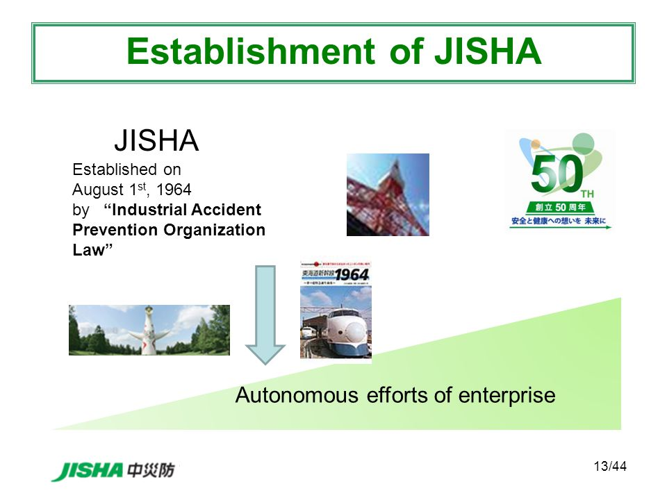 13/44 JISHA Established on August 1 st, 1964 by Industrial Accident Prevention Organization Law Autonomous efforts of enterprise Establishment of JISHA