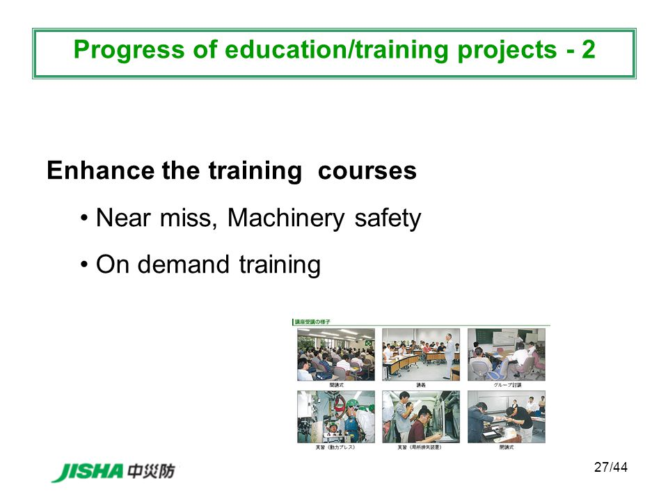 27/44 Enhance the training courses Near miss, Machinery safety On demand training Progress of education/training projects - 2