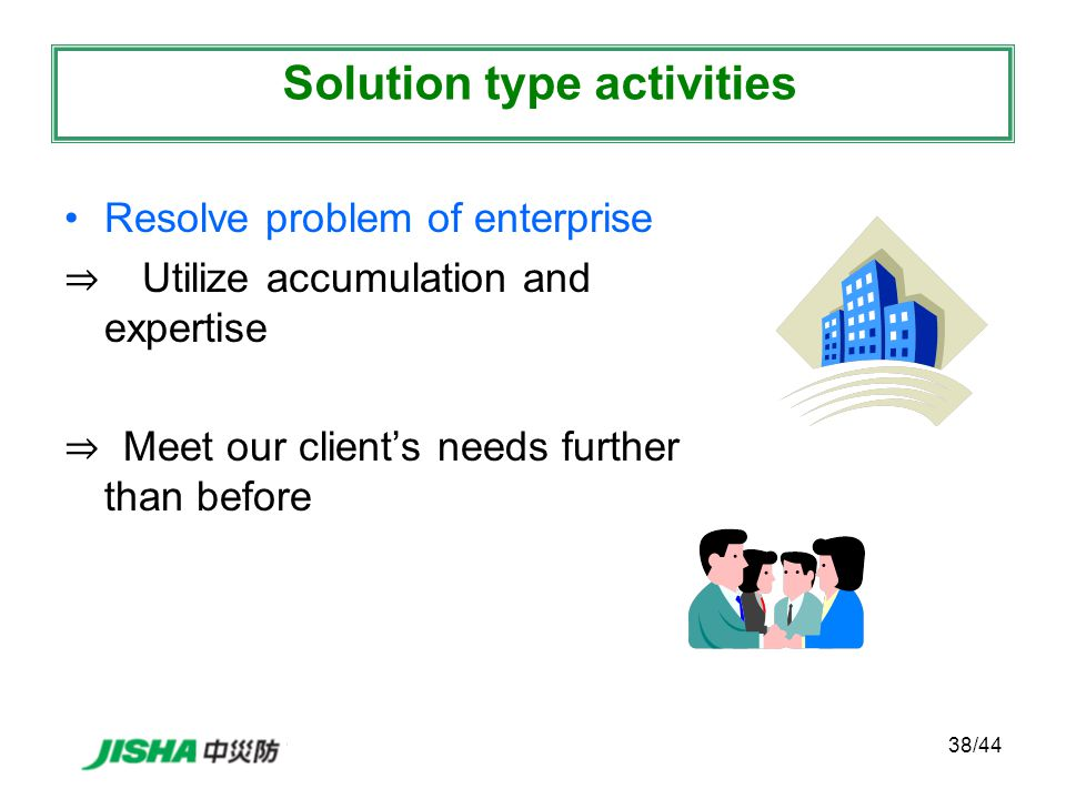 38/44 Resolve problem of enterprise ⇒ Utilize accumulation and expertise ⇒ Meet our client's needs further than before Solution type activities