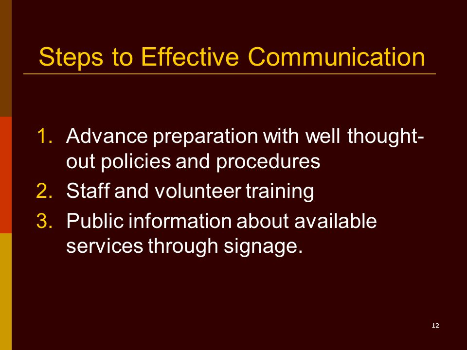 12 Steps to Effective Communication 1.Advance preparation with well thought- out policies and procedures 2.Staff and volunteer training 3.Public information about available services through signage.