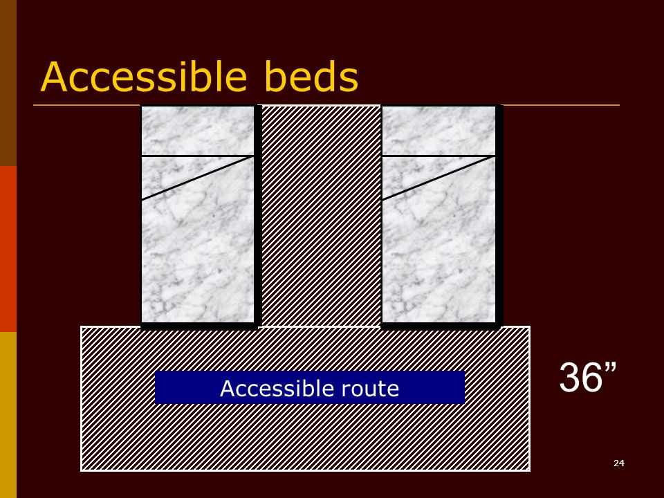24 Accessible beds 36 Accessible route