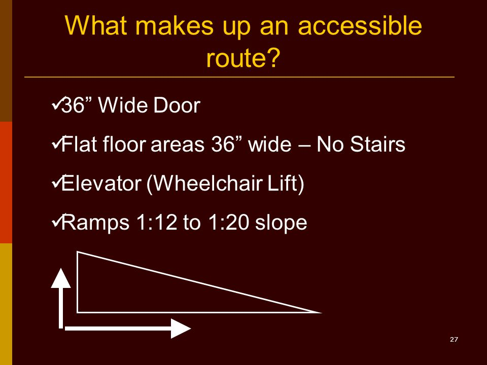 27 What makes up an accessible route.