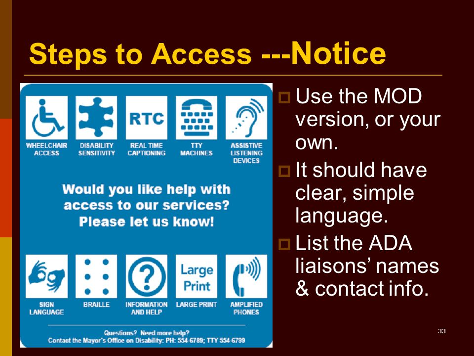 33 Steps to Access --- Notice  Use the MOD version, or your own.