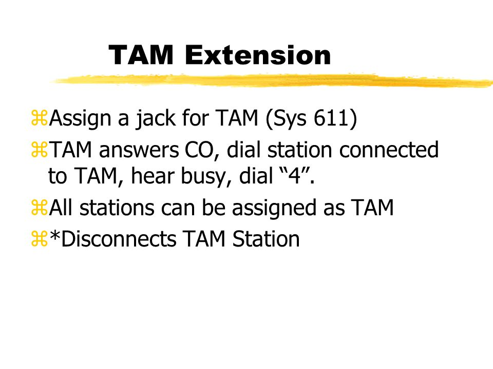 TAM Extension zAssign a jack for TAM (Sys 611) zTAM answers CO, dial station connected to TAM, hear busy, dial 4 .