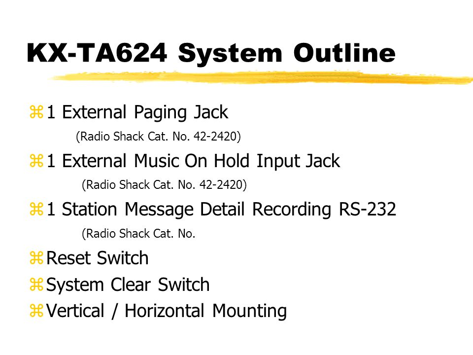 KX-TA624 System Outline z1 External Paging Jack (Radio Shack Cat.