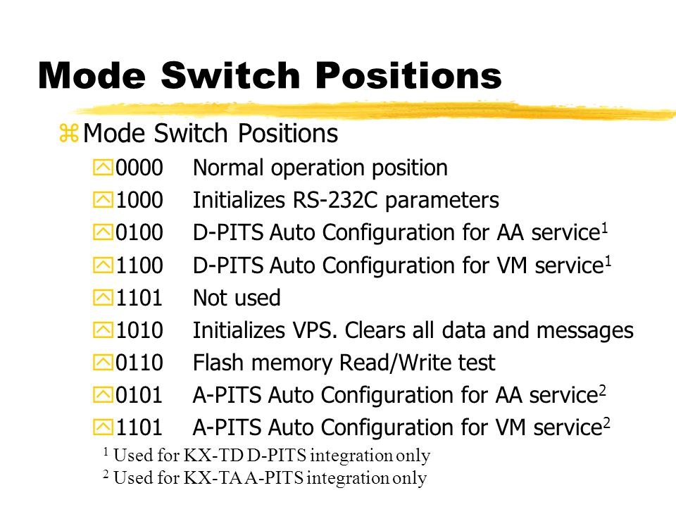 Mode Switch Positions zMode Switch Positions y0000Normal operation position y1000Initializes RS-232C parameters y0100D-PITS Auto Configuration for AA service 1 y1100D-PITS Auto Configuration for VM service 1 y1101Not used y1010Initializes VPS.
