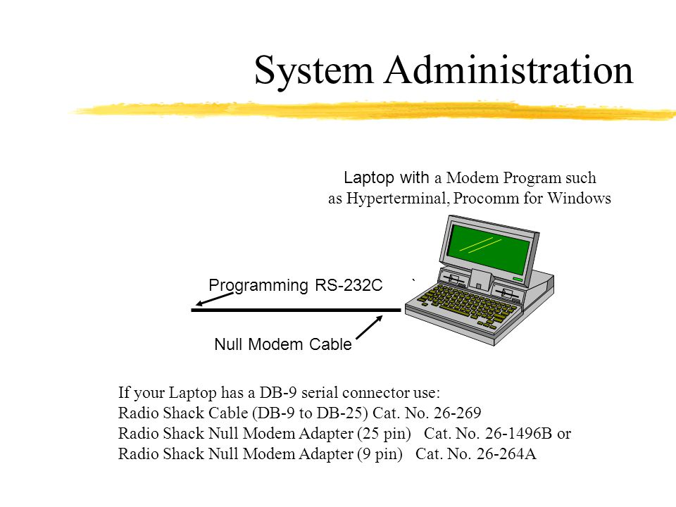 System Administration Laptop with a Modem Program such as Hyperterminal, Procomm for Windows Programming RS-232C` Null Modem Cable If your Laptop has a DB-9 serial connector use: Radio Shack Cable (DB-9 to DB-25) Cat.