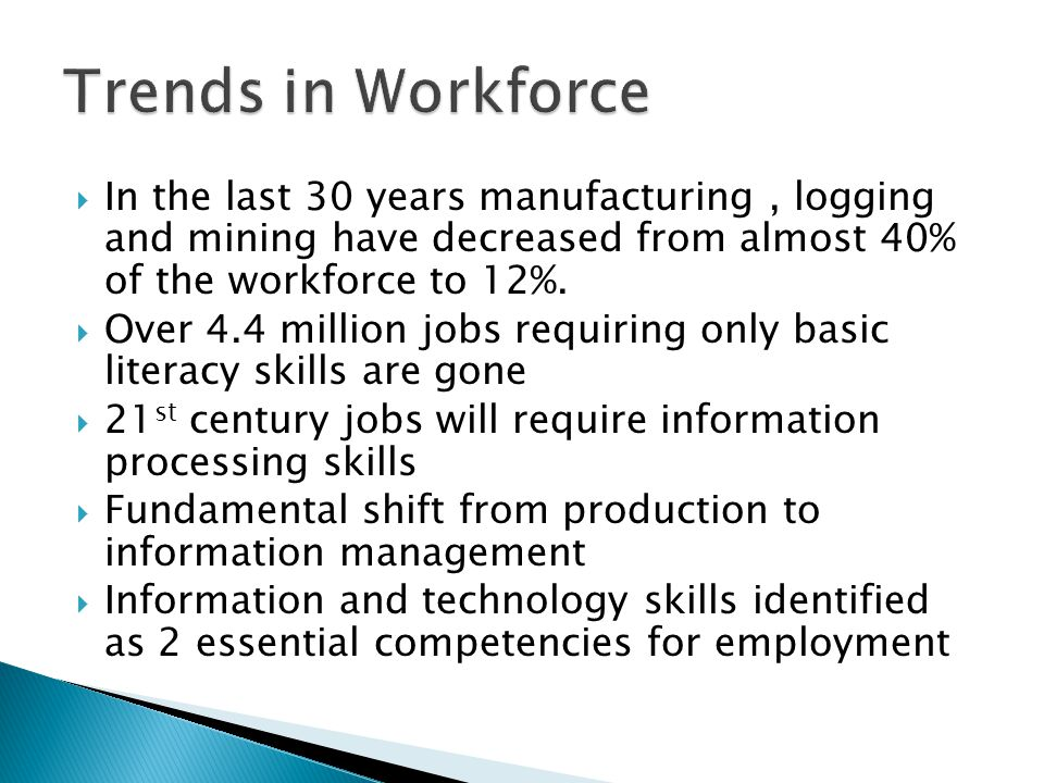  In the last 30 years manufacturing, logging and mining have decreased from almost 40% of the workforce to 12%.