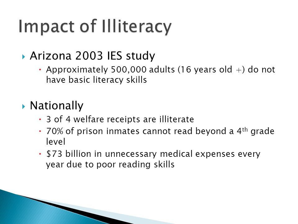  Arizona 2003 IES study  Approximately 500,000 adults (16 years old +) do not have basic literacy skills  Nationally  3 of 4 welfare receipts are illiterate  70% of prison inmates cannot read beyond a 4 th grade level  $73 billion in unnecessary medical expenses every year due to poor reading skills