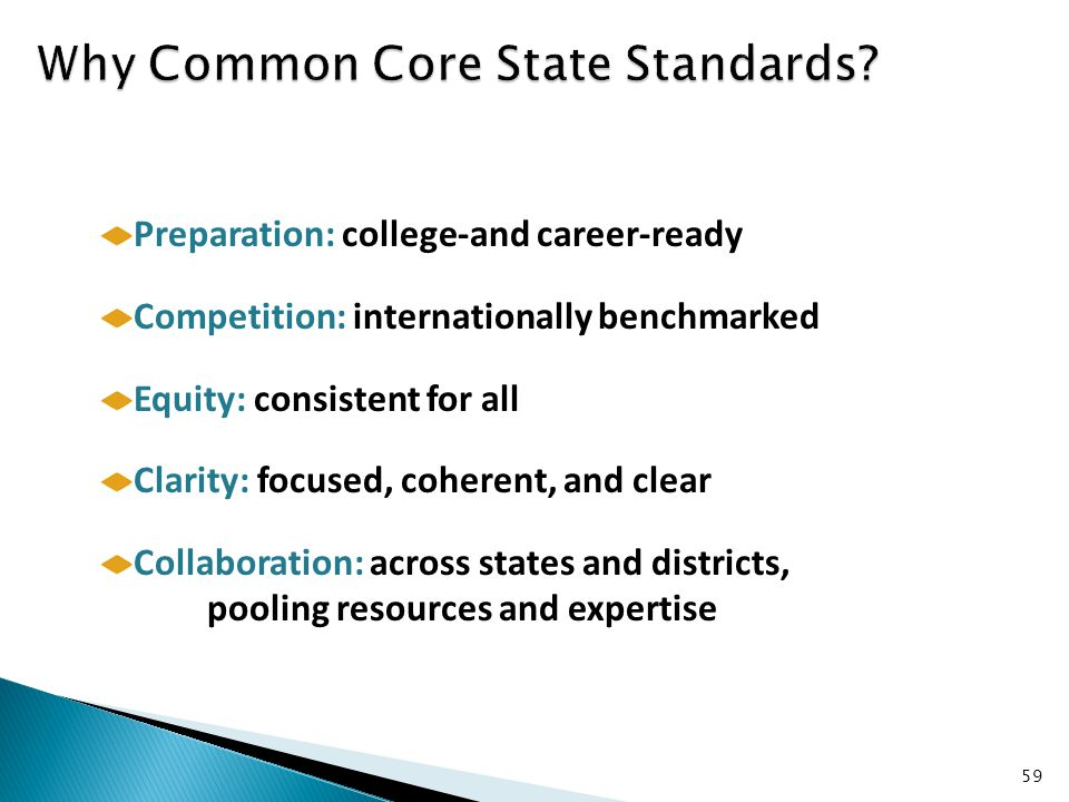 59 Preparation: college-and career-ready Competition: internationally benchmarked Equity: consistent for all Clarity: focused, coherent, and clear Collaboration: across states and districts, pooling resources and expertise