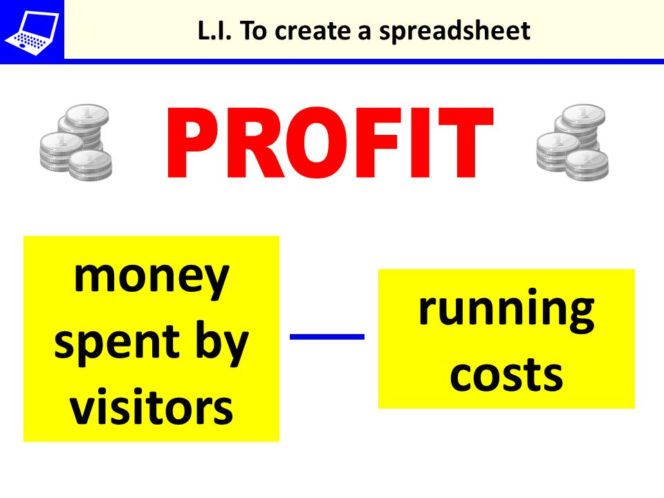 money spent by visitors running costs L.I. To create a spreadsheet