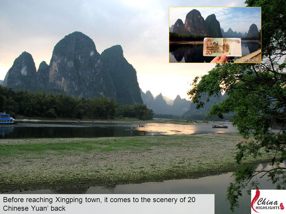Before reaching Xingping town, it comes to the scenery of 20 Chinese Yuan' back