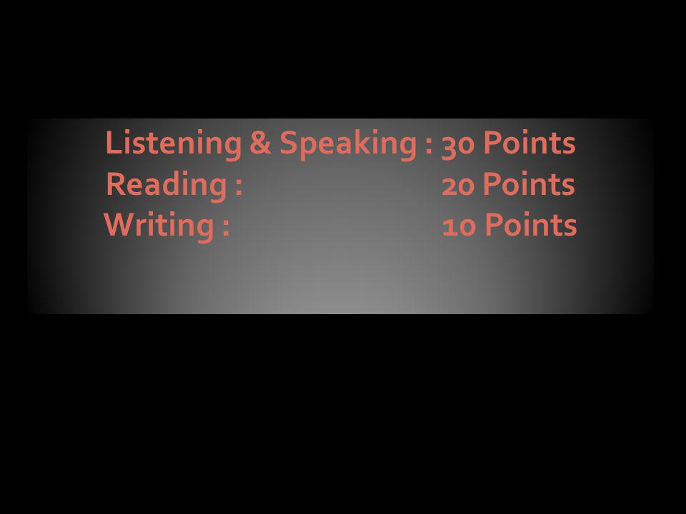 Listening & Speaking : 30 Points Reading : 20 Points Writing : 10 Points Listening & Speaking : 30 Points Reading : 20 Points Writing : 10 Points