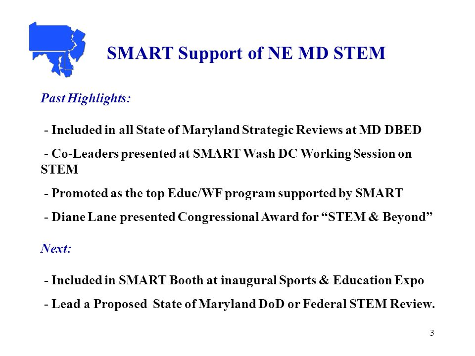 3 SMART Support of NE MD STEM Past Highlights: - Included in all State of Maryland Strategic Reviews at MD DBED - Co-Leaders presented at SMART Wash DC Working Session on STEM - Promoted as the top Educ/WF program supported by SMART - Diane Lane presented Congressional Award for STEM & Beyond Next: - Included in SMART Booth at inaugural Sports & Education Expo - Lead a Proposed State of Maryland DoD or Federal STEM Review.