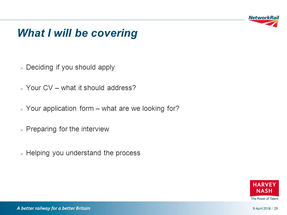 /9 April 2014299 April 201329 What I will be covering ► Deciding if you should apply ► Your CV – what it should address.