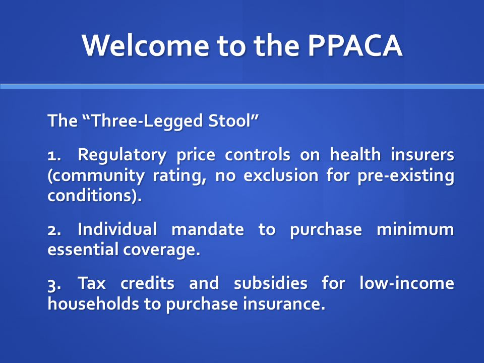 Welcome to the PPACA The Three-Legged Stool 1.Regulatory price controls on health insurers (community rating, no exclusion for pre-existing conditions).