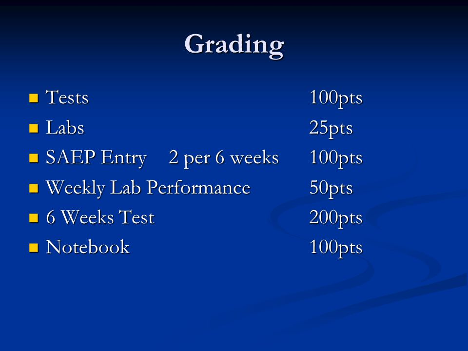 Grading Tests 100pts Tests 100pts Labs25pts Labs25pts SAEP Entry2 per 6 weeks100pts SAEP Entry2 per 6 weeks100pts Weekly Lab Performance50pts Weekly Lab Performance50pts 6 Weeks Test200pts 6 Weeks Test200pts Notebook100pts Notebook100pts