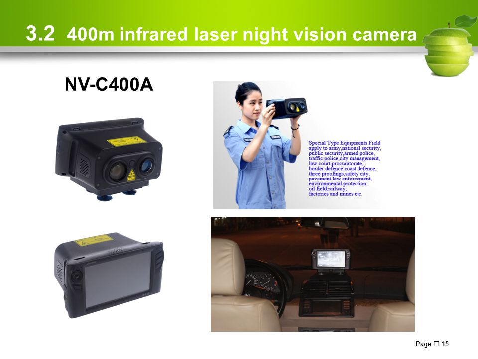 Page  15 3.2 400m infrared laser night vision camera NV-C400A