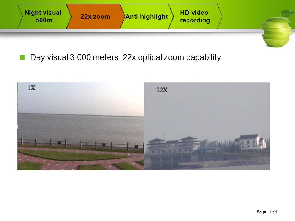 Page  24 22x zoomAnti-highlight Night visual 500m HD video recording Day visual 3,000 meters, 22x optical zoom capability