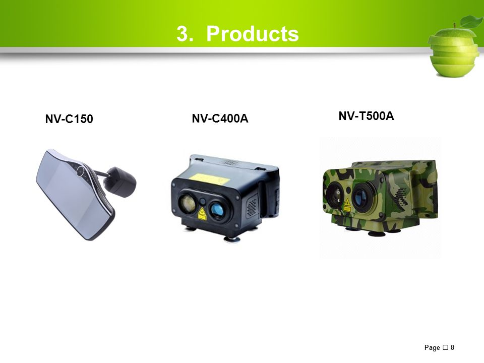 3. Products Page  8 NV-C150 NV-C400A NV-T500A