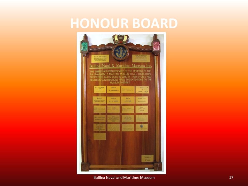 HONOUR BOARD Ballina Naval and Maritime Museum17