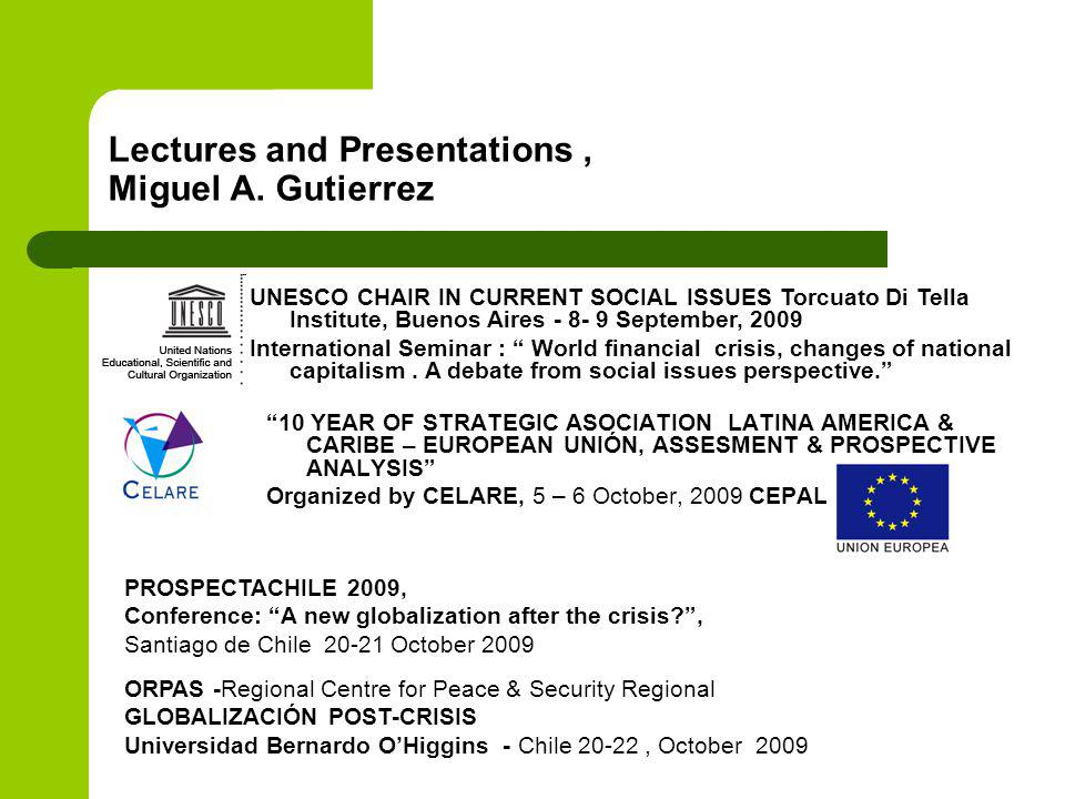 Lectures and Presentations, Miguel A.