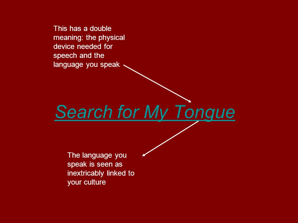 Search for My Tongue This has a double meaning: the physical device needed for speech and the language you speak The language you speak is seen as inextricably linked to your culture