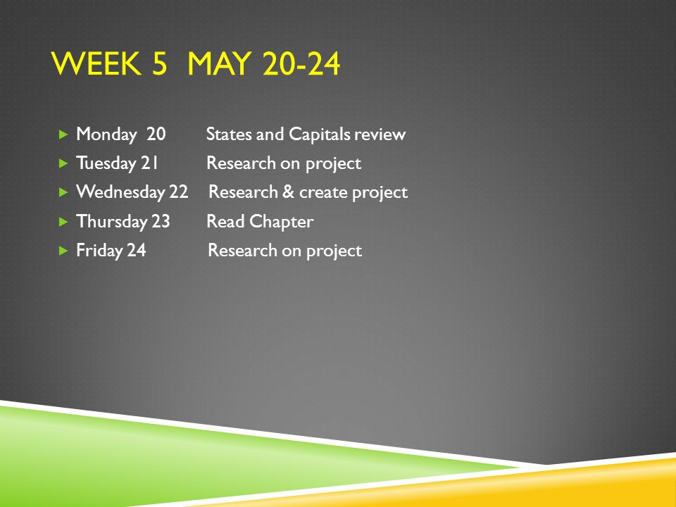 WEEK 5 MAY 20-24  Monday 20 States and Capitals review  Tuesday 21 Research on project  Wednesday 22 Research & create project  Thursday 23 Read Chapter  Friday 24 Research on project