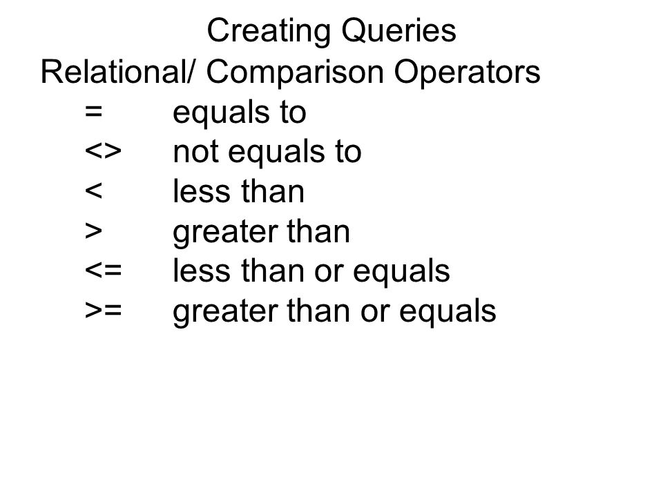 Creating Queries Relational/ Comparison Operators =equals to <>not equals to <less than >greater than <=less than or equals >=greater than or equals