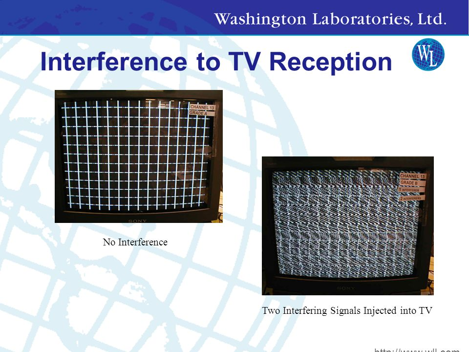 Interference to TV Reception Two Interfering Signals Injected into TV No Interference http://www.wll.com