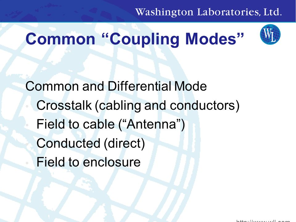 Common Coupling Modes Common and Differential Mode Crosstalk (cabling and conductors) Field to cable ( Antenna ) Conducted (direct) Field to enclosure http://www.wll.com