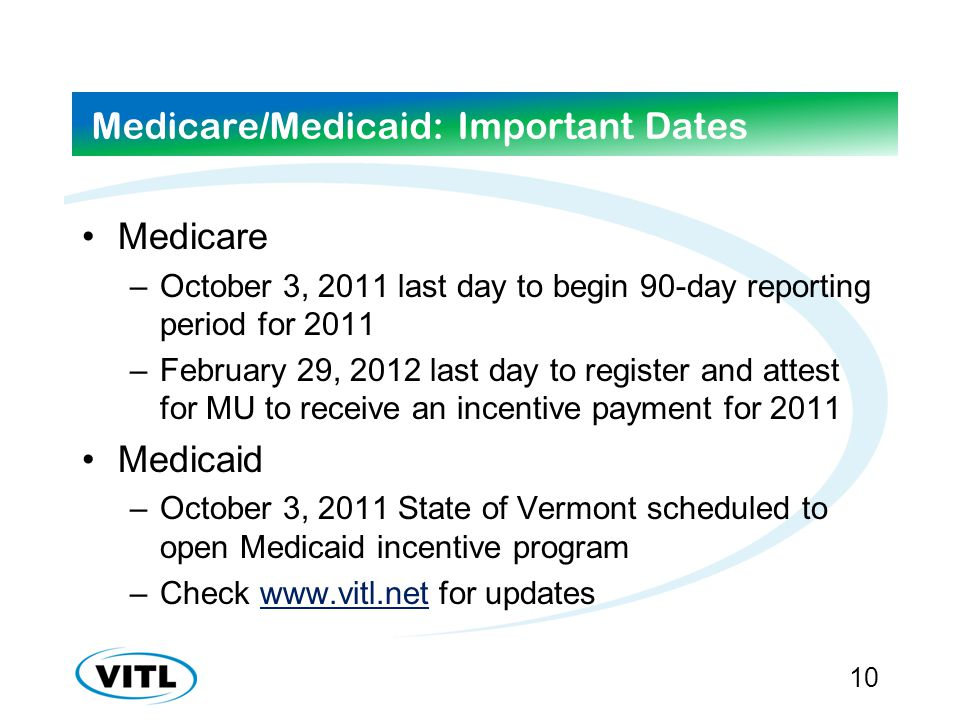 Medicare/Medicaid: Important Dates Medicare –October 3, 2011 last day to begin 90-day reporting period for 2011 –February 29, 2012 last day to register and attest for MU to receive an incentive payment for 2011 Medicaid –October 3, 2011 State of Vermont scheduled to open Medicaid incentive program –Check www.vitl.net for updateswww.vitl.net 10