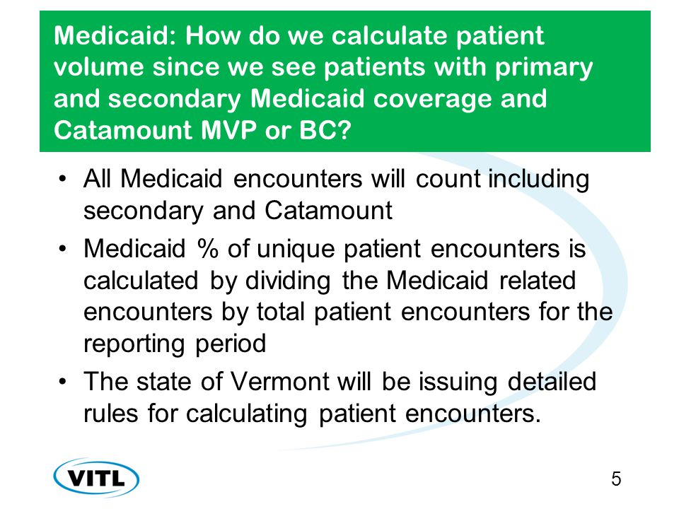 Medicaid: How do we calculate patient volume since we see patients with primary and secondary Medicaid coverage and Catamount MVP or BC.