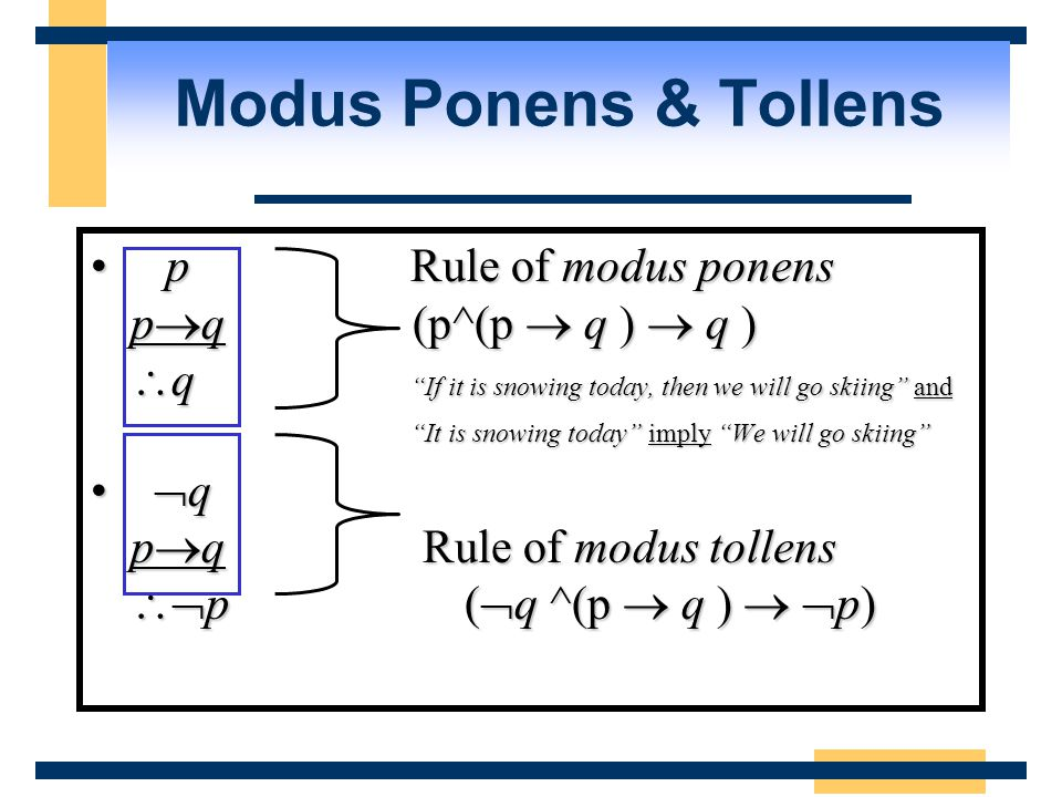 pRule of modus ponens p  q (p^(p  q )  q )  q If it is snowing today, then we will go skiing and pRule of modus ponens p  q (p^(p  q )  q )  q If it is snowing today, then we will go skiing and It is snowing today imply We will go skiing  q p  q Rule of modus tollens  p (  q ^(p  q )   p)  q p  q Rule of modus tollens  p (  q ^(p  q )   p) Modus Ponens & Tollens