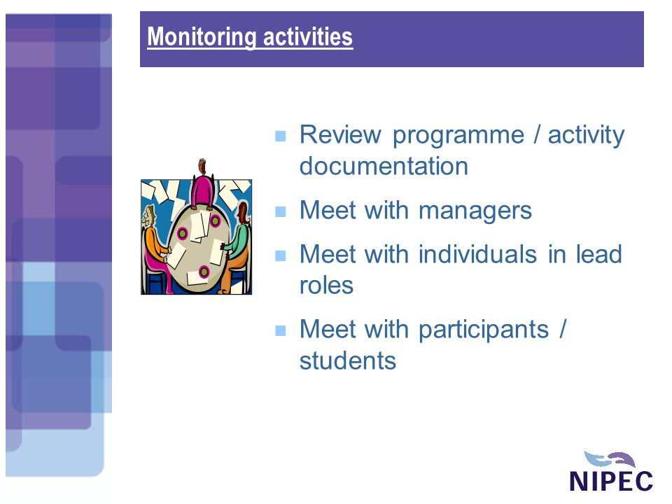 Monitoring activities Review programme / activity documentation Meet with managers Meet with individuals in lead roles Meet with participants / students