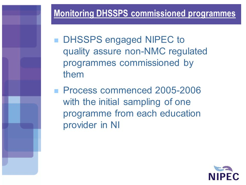 Monitoring DHSSPS commissioned programmes DHSSPS engaged NIPEC to quality assure non-NMC regulated programmes commissioned by them Process commenced 2005-2006 with the initial sampling of one programme from each education provider in NI